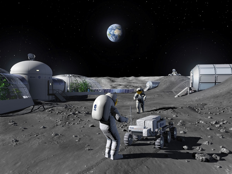 Représentation d'artiste d'une base lunaire